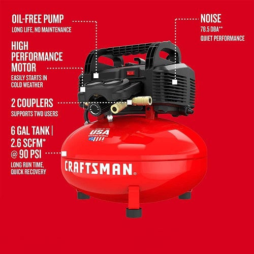 CRAFTSMAN 6 Gallon Pancake Air Compressor, Oil-Free with 13 Piece Accessory